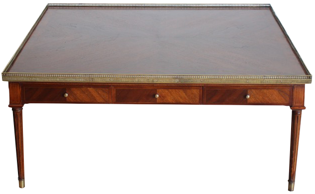 Large and impressive 1970s French Brass Mounted Coffee Table