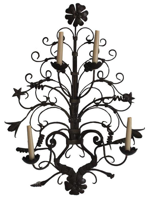 Large Pair of Mid 20th Century Spanish Wrought Iron Wall Lights