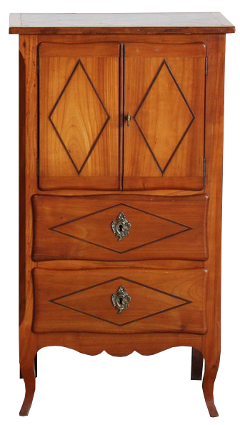Pair of Mid 20th Cent French Bedside Tables with Parquetry Tops