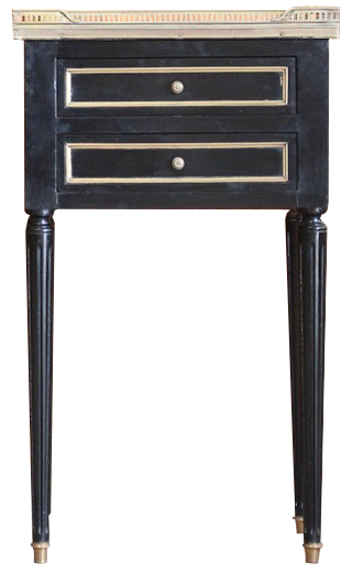 Pair of Mid 20th Cent French Ebonised Bedside tables in the Louis XVI Taste