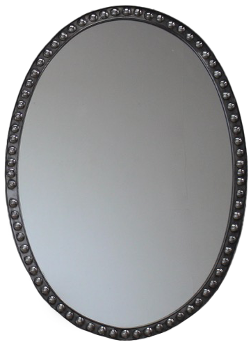 Pair of mid 20th Cent Polished Steel English Mirrors
