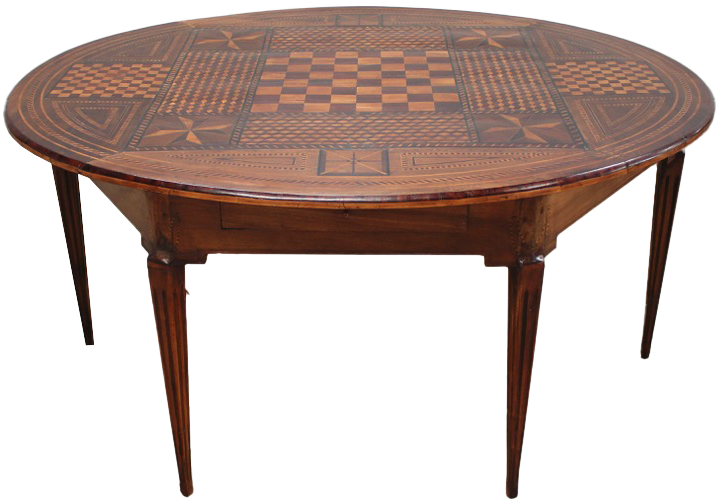 Unusual 19th Century Italian Oval Marquetry Dining / Centre Table