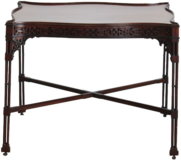 """18th Cent English """"Chinese Chippendale"""" Mahogany  Silver Table"""