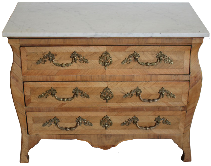 18th Century French Bleached Walnut Commode with Later Carrara Marble Top