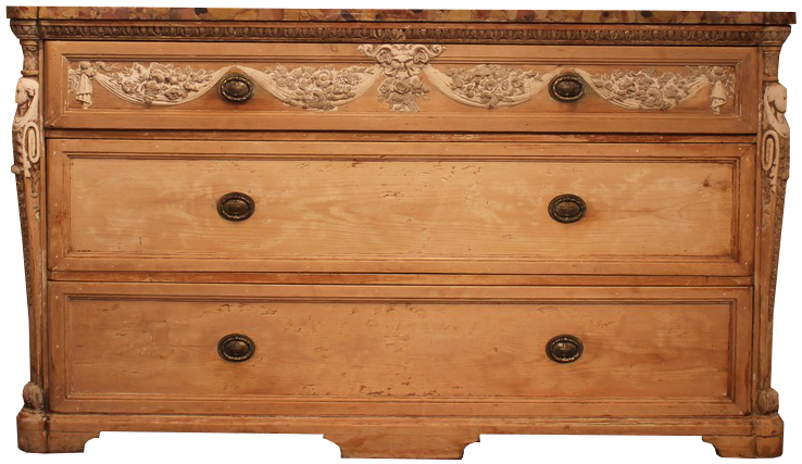 Large 19th Century Italian Marble Topped Pine Commode in the classical Taste