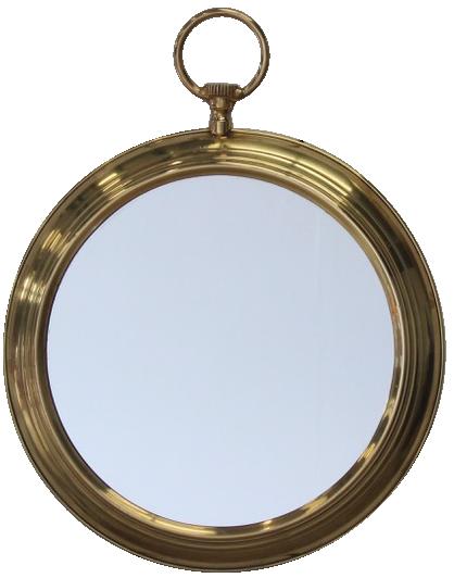 Pair of 1960s Spanish Watch Brass Mirrors