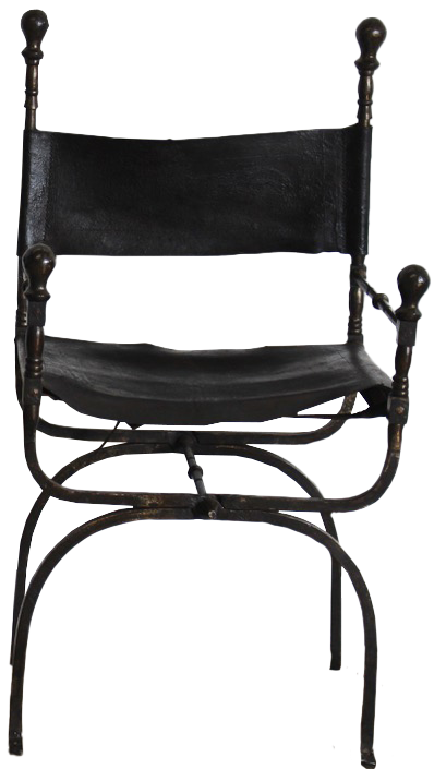 Pair of 19th century Spanish Leather & Wrought Metal Folding Chairs