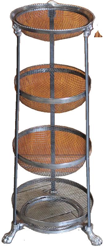 Very Unusual Polished Metal 4 Tier Basket