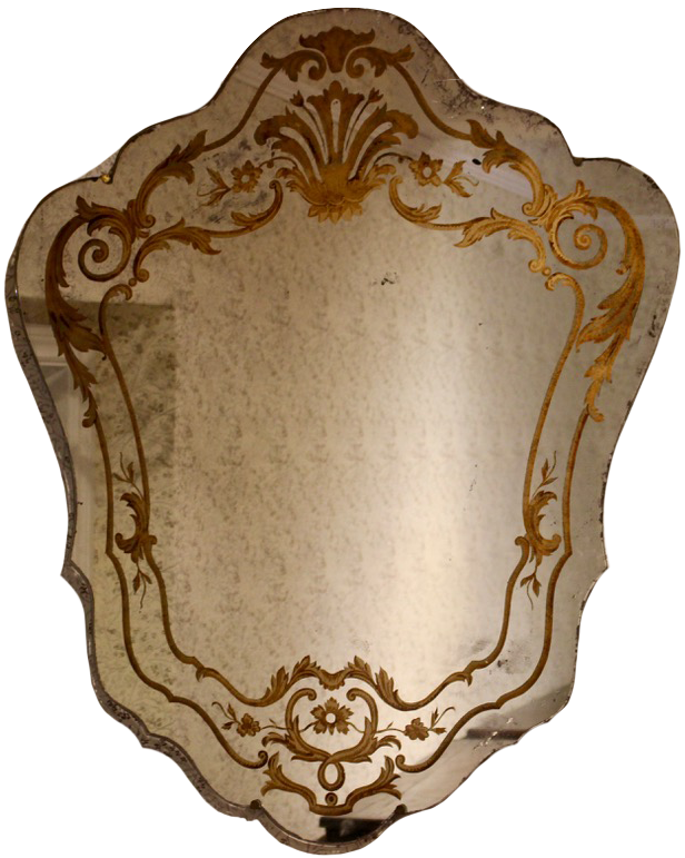 1940s French Verre Églomisé Mirror