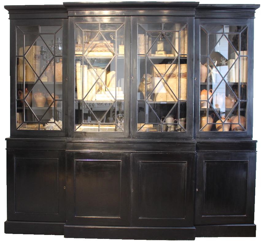 Good 19th Century English Ebonised Breakfront Bookcase