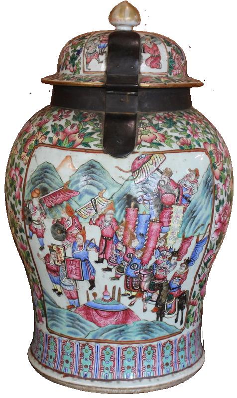 Large 19th Century Canton Temple Jar