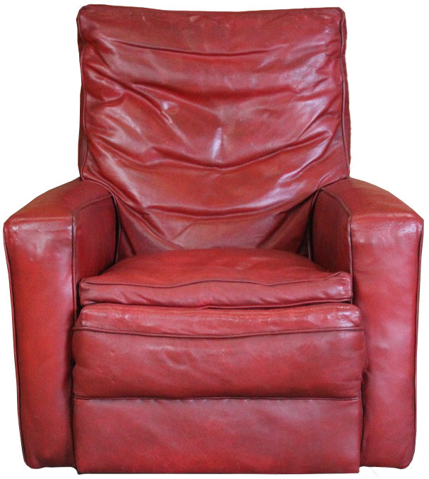 Large and Very Comfortable 1940s/50s Red Leather Armchair
