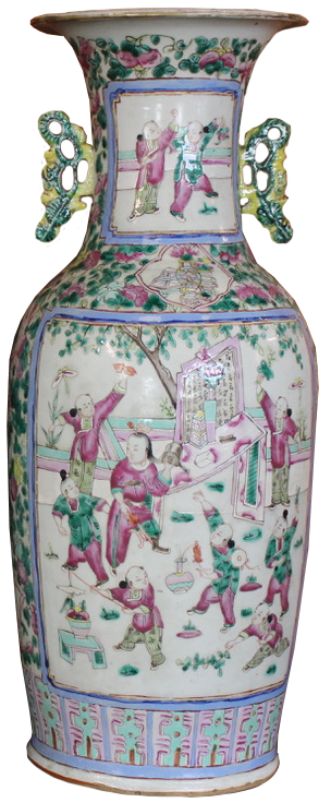 Large Pair of 19th Century Chinese Canton Pottery Vases